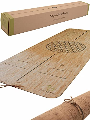 beneyu ® Langlebige & rutschfeste Premium Kork Yogamatte aus Portugal (EU) - Schadstofffreie Yogamatte für Anspruchsvolle und Profis Kork (ohne Linien)