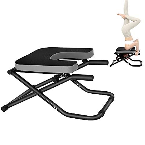 YOVYO Yoga Kopfstandhocker Handstand Bench, Hochwertiges PU-Leder, Bequemer Griff, Dickes Stahlrohr, Mehrfachverriegelung, Faltbares Design Schützen Die Halswirbelsäule