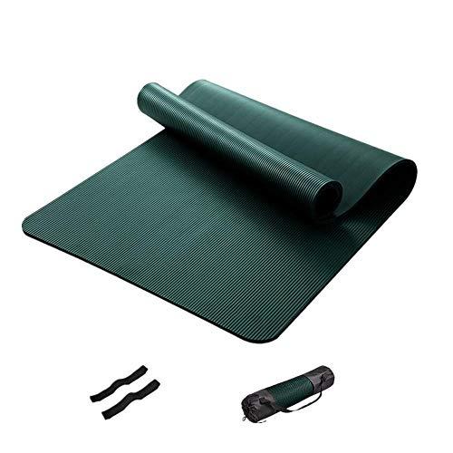 ZBK Yogamatte, 10 mm dick, NBR Yogamatte, Fitnessmatte, erweiterte und verlängerte Sportmatte für Herren, 200 × 90 × 1 cm (dunkelgrün)