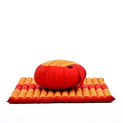 Leewadee Meditationskissen Set Sitzkissen Rund Zafu Yoga Kissen Zabuton Yogakissen Meditationskissen Meditation Zubehör Yoga Sitzkissen Yoga Meditationskissen, Kapok, orange rot