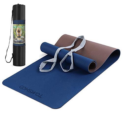 TOMSHOO TPE Gymnastikmatte, rutschfest Umweltfreundlich Yogamatte Trainingsmatte, Hautfreundliche Phthalatfreie Fitnessmatte für Yoga Pilates Gymnastik Workout Fitness mit Tragegurt, 183 x 61 x 0,6cm