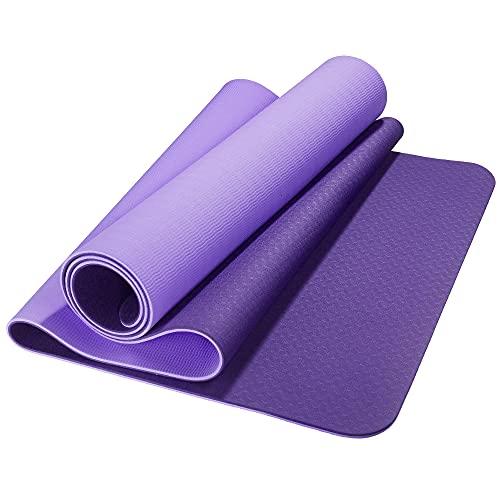 CelinaSun Fitnessmatte 183 x 61 cm lila flieder TPE Sport Matte rutschfest Yoga Pilates Fitness Trageband und Tasche