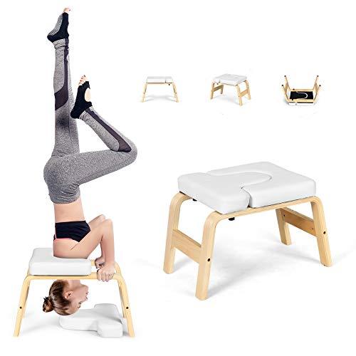 DREAMADE Yoga Kopfstandhocker Holz, Handstand Bank Yoga Hocler, Kopfstandstuhl mit Tragfähigkeit bis 200kg,...
