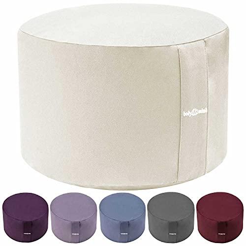 Body & Mind® Yogakissen Meditationskissen Boden Sitz-Kissen Polster für Meditation & Yoga; waschbarer Bezug und atmungsaktiver Premium Füllung; 18 cm Sitzhöhe (Beige)