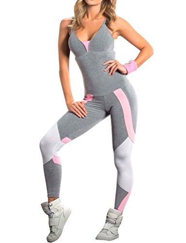 Dresswel Damen Sport Jumpsuit Overall Ärmellos Rückenfrei Bodysuit Sporthosen Yoga Leggings Bandage Playsuits Jogging Strampler Hosenanzug Trainingsanzug