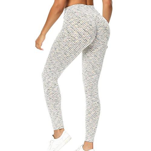 HFStorry Damen Hohe Taille Druck Stretch Yoga Leggings Fitness Laufen Sport Hosen in voller Länge Bunte Waben Hip Lift Yoga Hosen