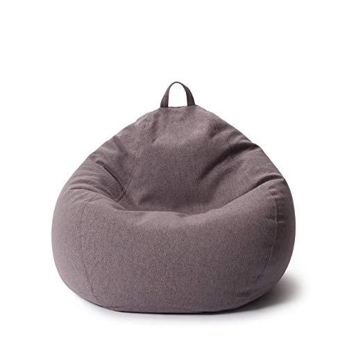 Lumaland Comfort Line Sitzsack L Indoor - 80x90x50 cm - Bodenkissen, Bean Bag Chair - 185 L - EPS Perlen Füllung - Dunkelgrau