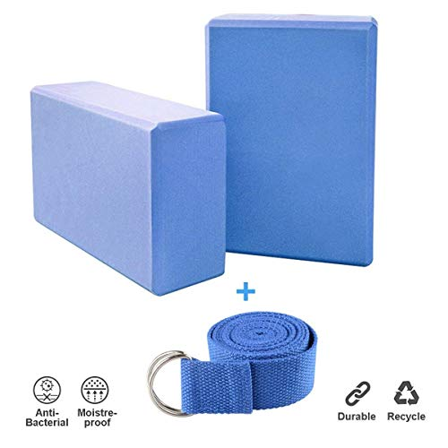 JIM'S STORE 2pcs Yoga Blöcke mit 1.8m Yogagurt, Yogablock/Yoga-Block Set Yoga und Pilates Training...