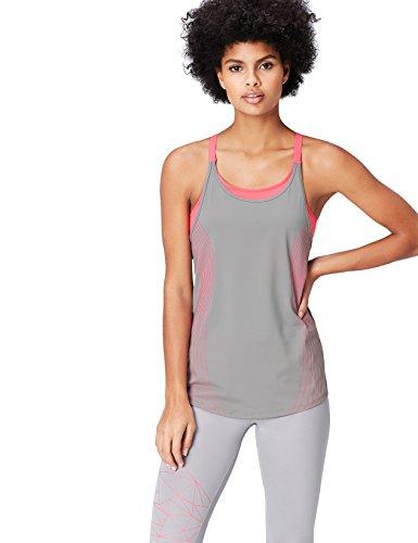 Activewear Top Damen Racerback mit verstellbaren Trägern , Grau, 40 (Herstellergröße: Large)