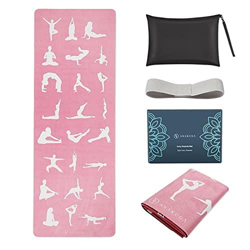 SNAKUGA Reise-Yogamatte faltbar, 1/16 Zoll dicke, rutschfeste Yogamatte, leichte Tragetasche, umweltfreundliches Naturkautschuk und Wildleder, 72' L x 26' B x 1,5 mm