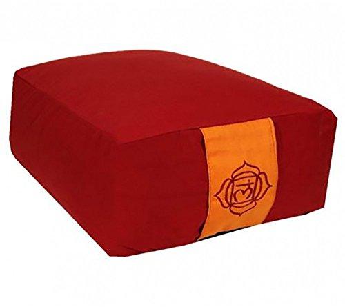 Raum der Stille Meditations und Yoga Kissen rechteckig 38x28x13cm mit Tragegriff Unterseite schwarz Diverse Farben gefüllt mit Buchweizenhülsen nachfüllbar (Rot)