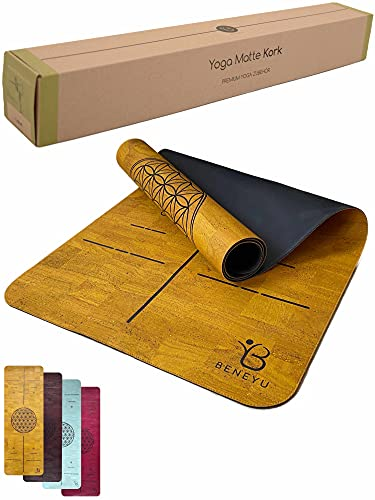 beneyu ® Langlebige & rutschfeste Premium Kork Yogamatte aus Portugal (EU) - Schadstofffreie Yogamatte für Anspruchsvolle und Profis