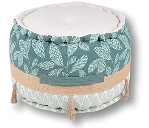 Sitzpouf Bodenkissen Sitzhocker Pouf Fußhocker 100% Baumwolle und Baumwolle Füllung (Nashi, ⌀ 40cm x 30cm)
