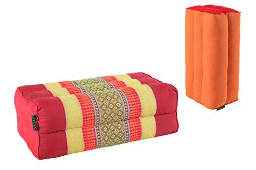ANADEO YogaProducts Standard - 2er-Set Yoga und Meditationskissen Zafu-Standard - Kapok High Density Komfort und Festigkeit - Stabilität von Assisi - Rot, Gelb/Mönch Safran