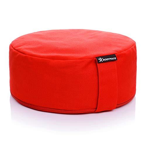 BODYMATE Yogakissen rund 31cm Durchmesser 13cm hoch Rot mit Buchweizen-Spelz Füllung – Maschinenwaschbarer Bezug aus 100% extra Dicker Baumwolle – Meditationskissen – Sitzkissen