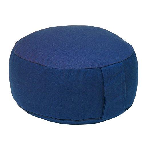 Meditationskissen RONDO BASIC, Yogakissen, Kapok-Füllung, Bezug aus 100% Baumwolle mit praktischem Tragegriff (dunkel-blau)