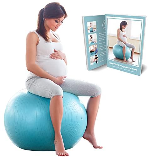 BabyGO Gymnastikball Schwangerschaft Sitzball Büro Schwangere Yoga Pezziball 65 cm 75 cm + 100 Seiten Schwangerschaftsbuch für Geburt & Fitness Anti-Burst 1000KG Pezzi Ball 75cm