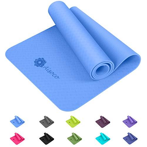 Aisoco Yogamatte, aus umweltfreundlichem TPE-Schaum. Gymnastik Matte, Übungsmatten, rutschfest, umweltfreundlich, Hypoallergen und hautfreundlich, Yoga, Pilates&Fitness,& Yoga-Tragetasche, 183 x 61