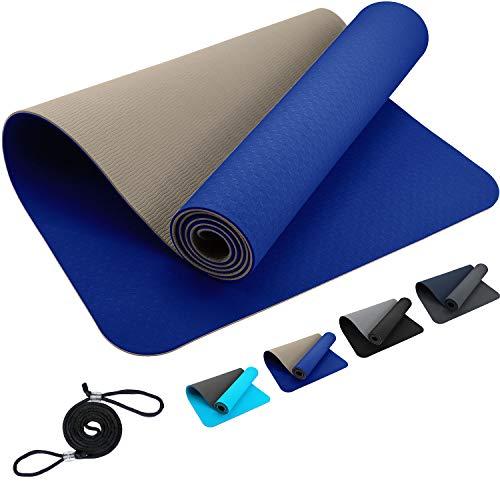 Premium ReFit Yogamatte aus hochwertigem TPE 6mm - blau beige, Blue Cyan rutschfest schadstofffrei hypoallergen geruchslos hautfreundlich eco Fitness Pilates 183 x 61 x 0,6 cm Trageband