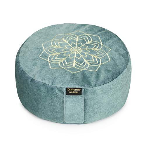 DiMonde Zafu Meditationskissen, rund, abnehmbarer und waschbarer Bezug, Füllung aus Sarrasinschalen, seitlicher Griff, Tasche aus Baumwolle, Mandala – Höhe 13 cm, Durchmesser 33 cm, Grün