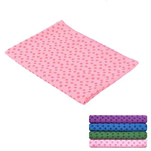 Deror Rutschfestes Yoga-Handtuch 185 cm x 63 cm Heißes Yoga-Handtuch Schweißabsorbierendes Handtuch für Gymnastikmatten(Rosa)