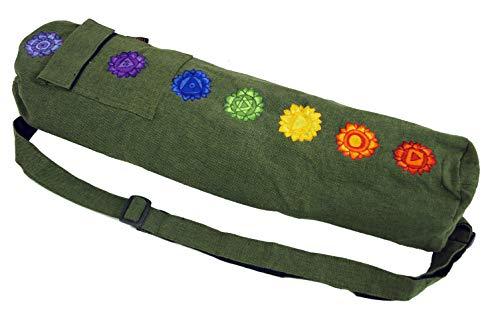 GURU SHOP Yogamatten-Tasche 7 Chakra - Olive, Herren/Damen, Grün, Baumwolle, Size:One Size, Taschen für Yogamatten