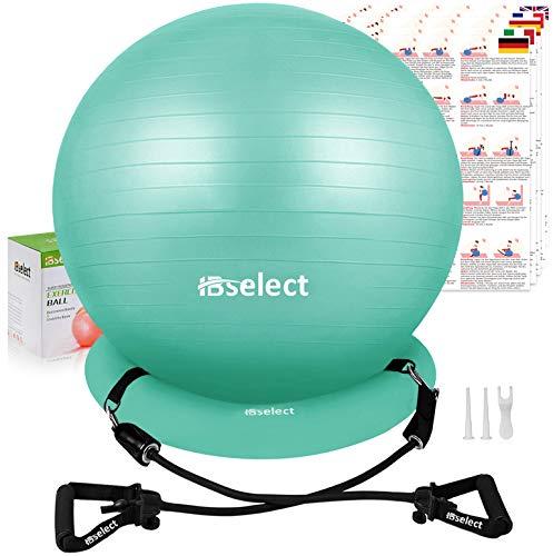 HBselet Gymnastikball Sitzball Gymnastic Ball Medizinball Pezziball mit Wiederstands Bänder Handgriff Ballpumbe Basis Schwangerschaft Yoga Pilates Büro zuhause