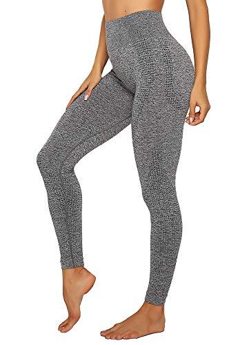 INSTINNCT Damen Yoga Lange Leggings Slim Fit Fitnesshose Sporthosen #4 Klassische Stil - Grau S