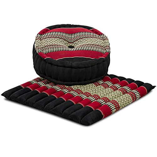 livasia Yogaset/Meditationsset L der Marke Asia Wohnstudio: 1 x Zafukissen (Yogakissen) + 1 x Sitzkissen (Meditationskissen) mit Reiner Kapokfüllung, Günstiges Set (schwarz/rot)