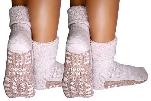 dunaro 2 Paar ABS Anti Rutsch Socken Alpaka Socken Stoppersocken Noppensocken Damen & Herren (2 Paar / 39-42 Beige)