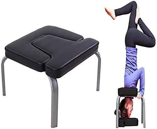 WWJ Yoga Auxiliary Chair, Yoga Aids Workout Chair, Kopfstandhocker Multifunktionale Sportübungsbank Fitnessgeräte Schwarz, 43X42X37cm