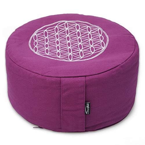 Yogishop Meditationskissen rund - Vintage - Cotton - ø 30cm x 15cm Violet - Blume des Lebens