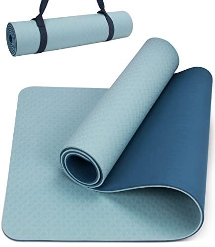 Yogamatte Rutschfest mit Tragegurt, 8mm Extradick Yoga Matte, TPE Schadstofffrei Sportmatte für Zuhause oder Draußen, Fitnessmatte für Yoga Pilates Workout, Gymnastikmatte Doppelseitig