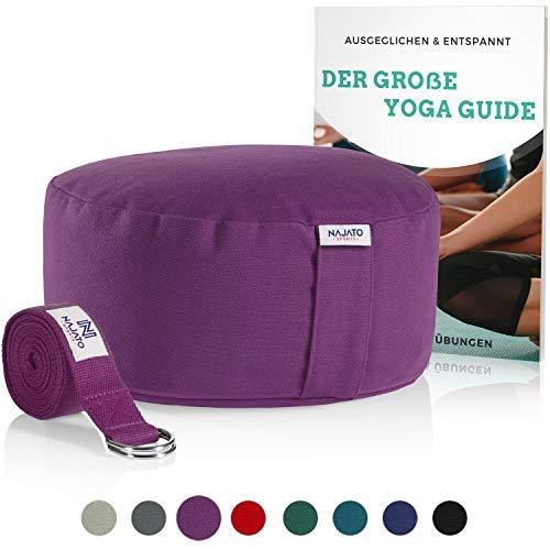NAJATO Sports Meditationskissen – Mit Yoga Gurt & E-Book – Yogakissen mit Buchweizenschalen-Füllung –...