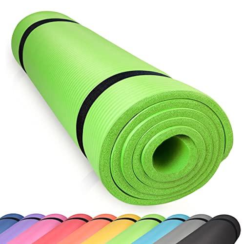 diMio Komfort-Gymnastikmatte Yogamatte in 185x60x1cm, 185x60x1.5cm, 185x90x1.5cm, 200x100x2 mit Tragegurt Phtalatfrei + SGS-geprüft (Grün, 200 x 100 x 2 cm (XXL))