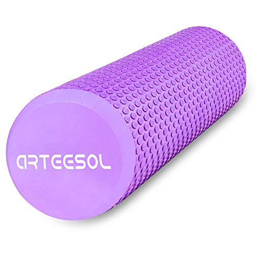 arteesol Faszienrolle, Pilates Rolle Fitness Standard Runde Massagerolle 30/45cm × 15cm Schaumstoffrolle Trainingsrolle Lang Schwarz für Trainning Balance Selbstmassage Stretching (Lila-30CM)