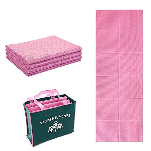 Klappbare Yoga Matte Fitnessmatte - 6mm Sportmatte Fitness Pilates Sport Gymnastikmatte rutschfest - Reise Yogamatte faltbar - pink