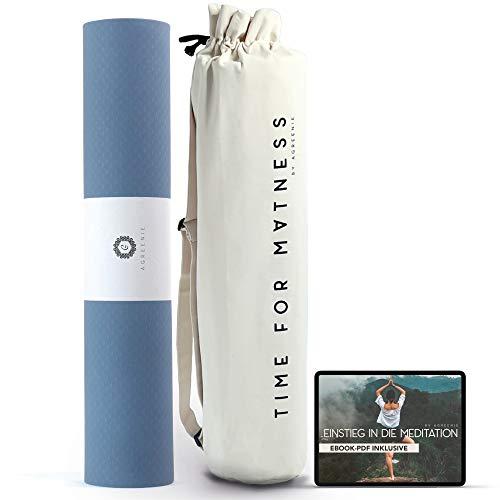 aGreenie Yogamatte Prana - rutschfeste Sportmatte aus Hochwertigem TPE - Extra Breit 183 x 68 cm - 6mm Dicke - Schadstofffreie und Antiallergene Gymnastikmatte - Inkl. Yogatasche & Ebook