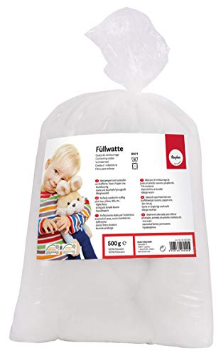 Rayher 30195000 Füllwatte hochflauschig 500 g Beutel, Füllmaterial 100 Prozent Polyester, weiß, Flocken,...