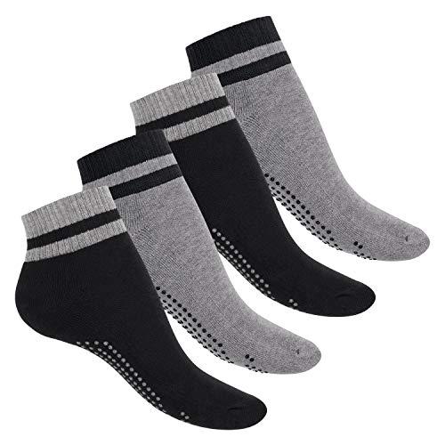 Celodoro Damen und Herren Yoga & Wellness Socken (4 Paar), ABS Söckchen mit Frottee-Sohle - Variante 2 43-46