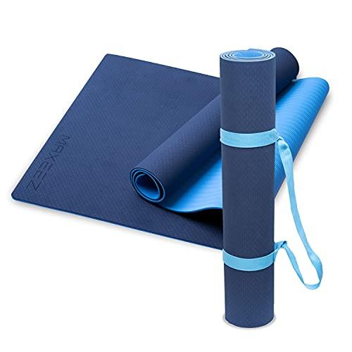 MAXEEZ® Yoga Matte TPE blau   80cm extra breit für mehr Sicherheit   Umweltfreundliche Gymnastikmatte Fitnessmatte biologisch abbaubar