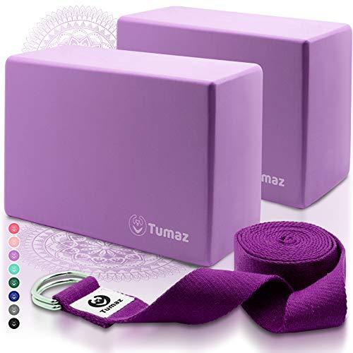 Tumaz Yoga Block 2er Set mit Yogagurt [240 cm] - Yoga Blöcke Eva-Schaum mit hoher Dichte und geringem Gewicht...