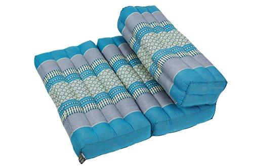 Handelsturm Faltbares Meditationskissen, Meditationssitz für Verschiedene Meditationstechniken, als Zafu und Zabuton, für Anfänger geeignet mit Fester Füllung aus Kapok, Thai Style blau