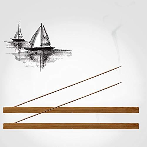 MOUHIV 2 STK. Räucherstäbchenhalter aus Bambus Holz, poliert und gewachst, Räuchergefäß, Asche Fänger, 23cm lang