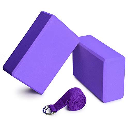 Lixada Yoga Blöcke 2er mit 1er Baumwoll Yoga Gurt Yoga Block Set Yoga Pilates Meditation für Anfänger und...