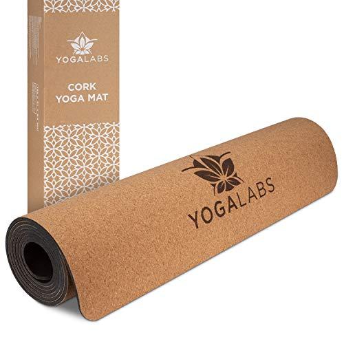 YOGALABS® Premium Yogamatte aus Kork und Naturkautschuk | Set mit 2-in-1 Yoga Gurt | 100% nachhaltig & schadstofffrei | natürliche & rutschfeste Gymnastikmatte | Sportmatte | 186 x 61 x 0,4 cm