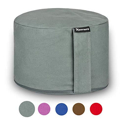 BODYMATE Extra-Hohes Yogakissen rund 31cm Durchmesser 20cm hoch Cool-Grey mit Buchweizen-Spelz Füllung –...