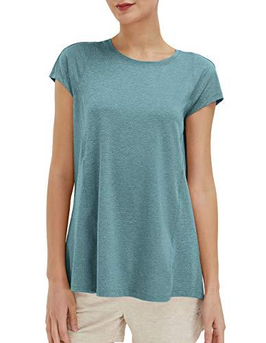 SPECIALMAGIC Trainieren T-Shirt Damen Yoga Tops Sport Ultimativ Kurzarm Aktive Lauffähigkeit Türkis XL