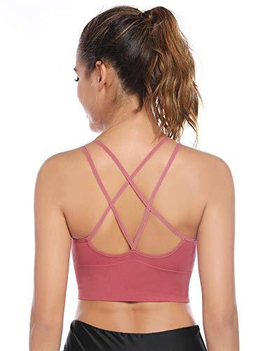Aibrou Sport BH Rücken Verkreuzt ohne Bügel Yoga BH Atmungsaktiv Schock Absorber Compression Top Gepolstert...