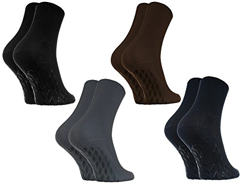Rainbow Socks - Damen Herren Antirutsch Diabetiker Socken Ohne Gummibund ABS - 4 Paar - Schwarz Braun Blau...
